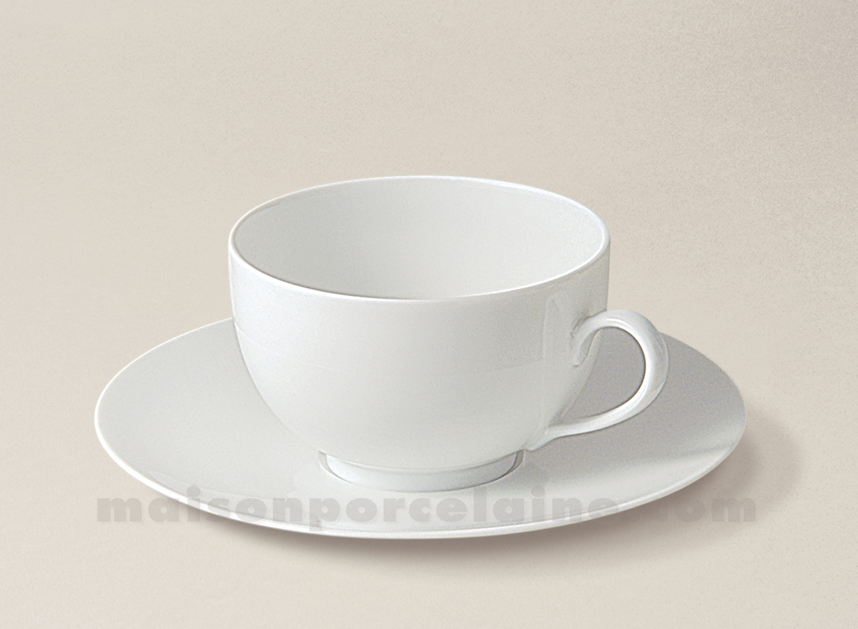 Maison De La Porcelaine Blanche #14: TASSE THE+SOUCOUPE LIMOGES PORCELAINE BLANCHE ENVIE 24CL