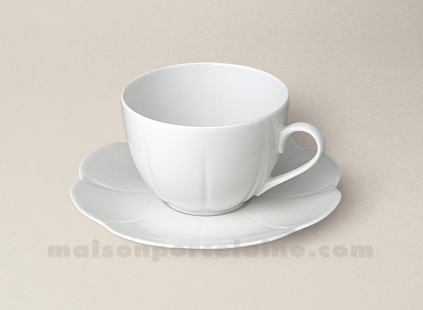tasse the soucoupe limoges porcelaine blanche nymphea 14cl. Black Bedroom Furniture Sets. Home Design Ideas