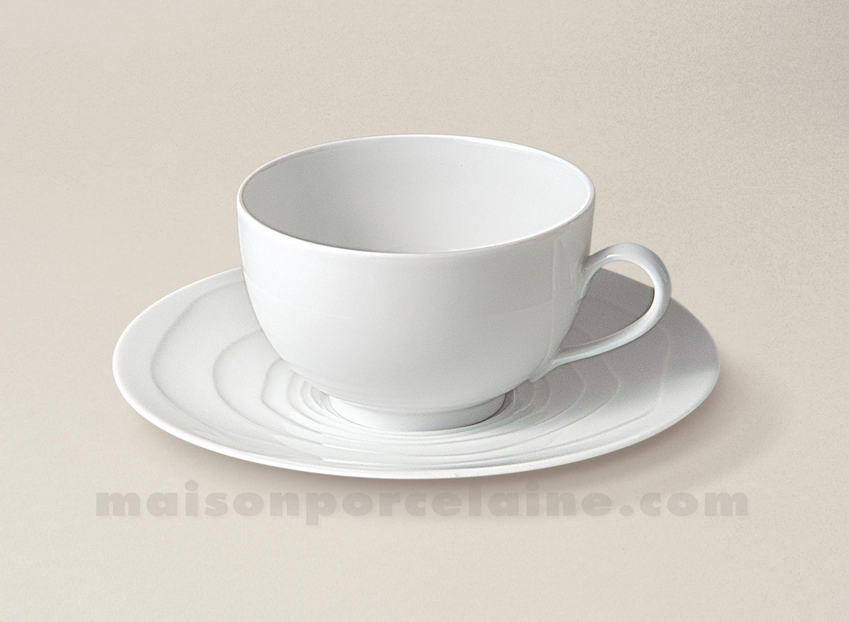 Tasse the soucoupe limoges porcelaine blanche onde gravee - La maison de porcelaine ...