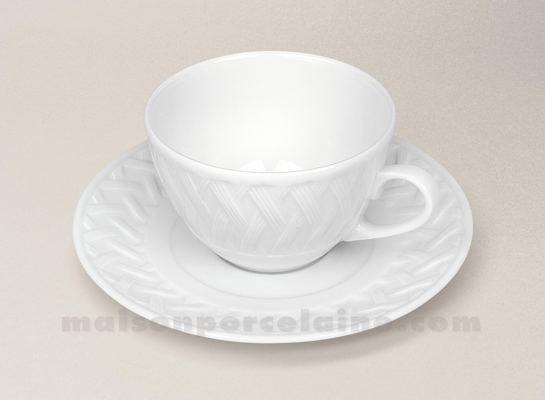 Tasse the soucoupe porcelaine blanche louisiane 18cl - La maison de porcelaine ...