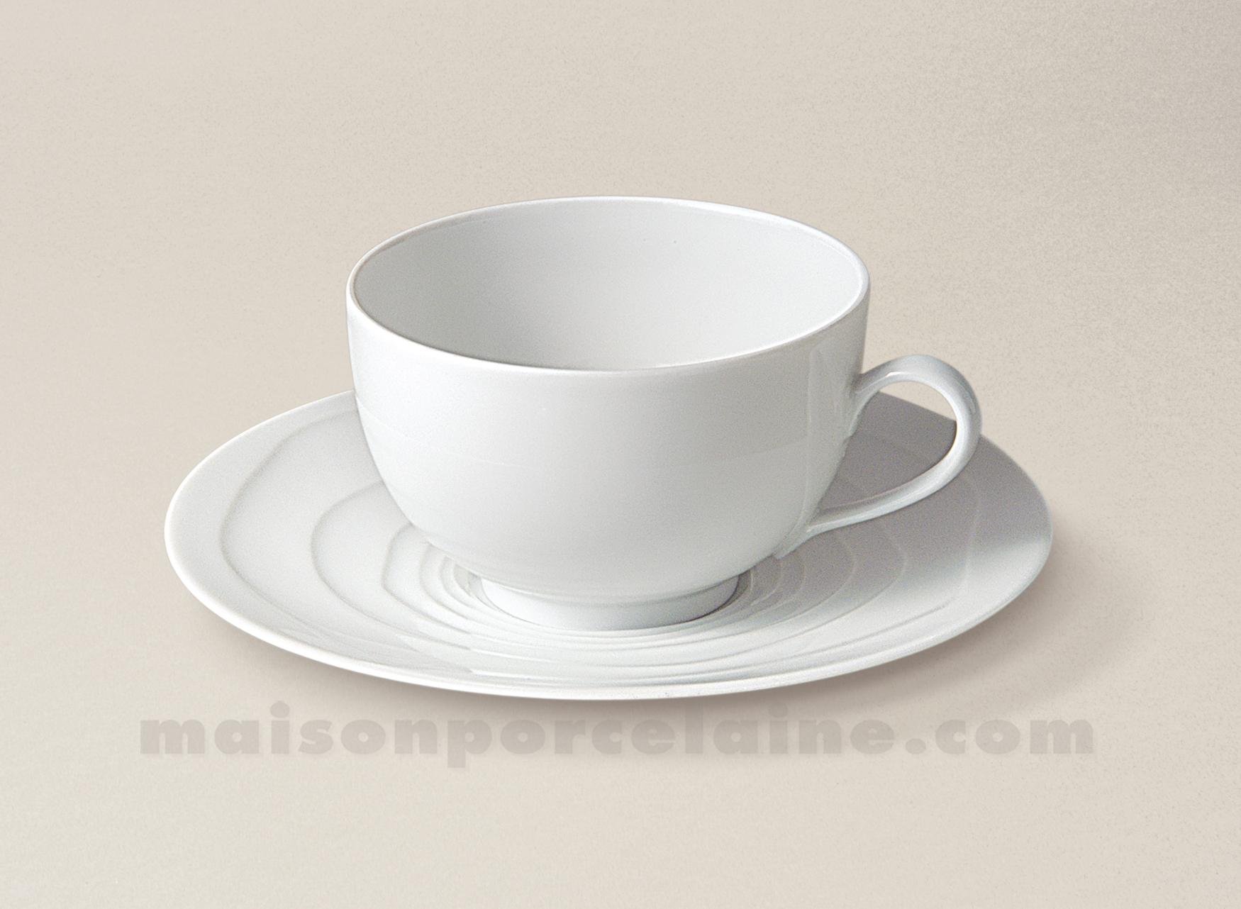Tasse the soucoupe porcelaine blanche onde gravee 24cl for Maison de la porcelaine