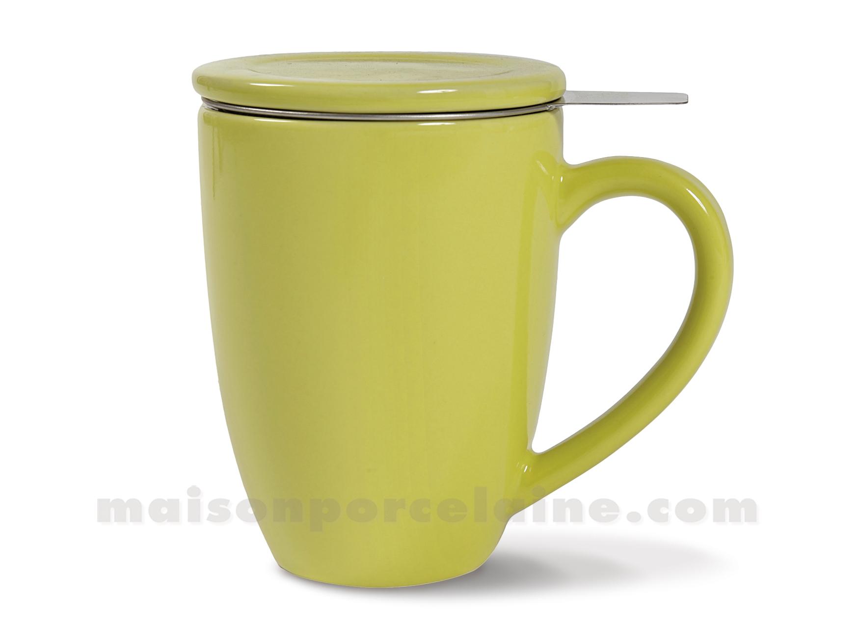 tasse tisaneavec couvercle ceramique vert anis filtre inox maison de la porcelaine. Black Bedroom Furniture Sets. Home Design Ideas