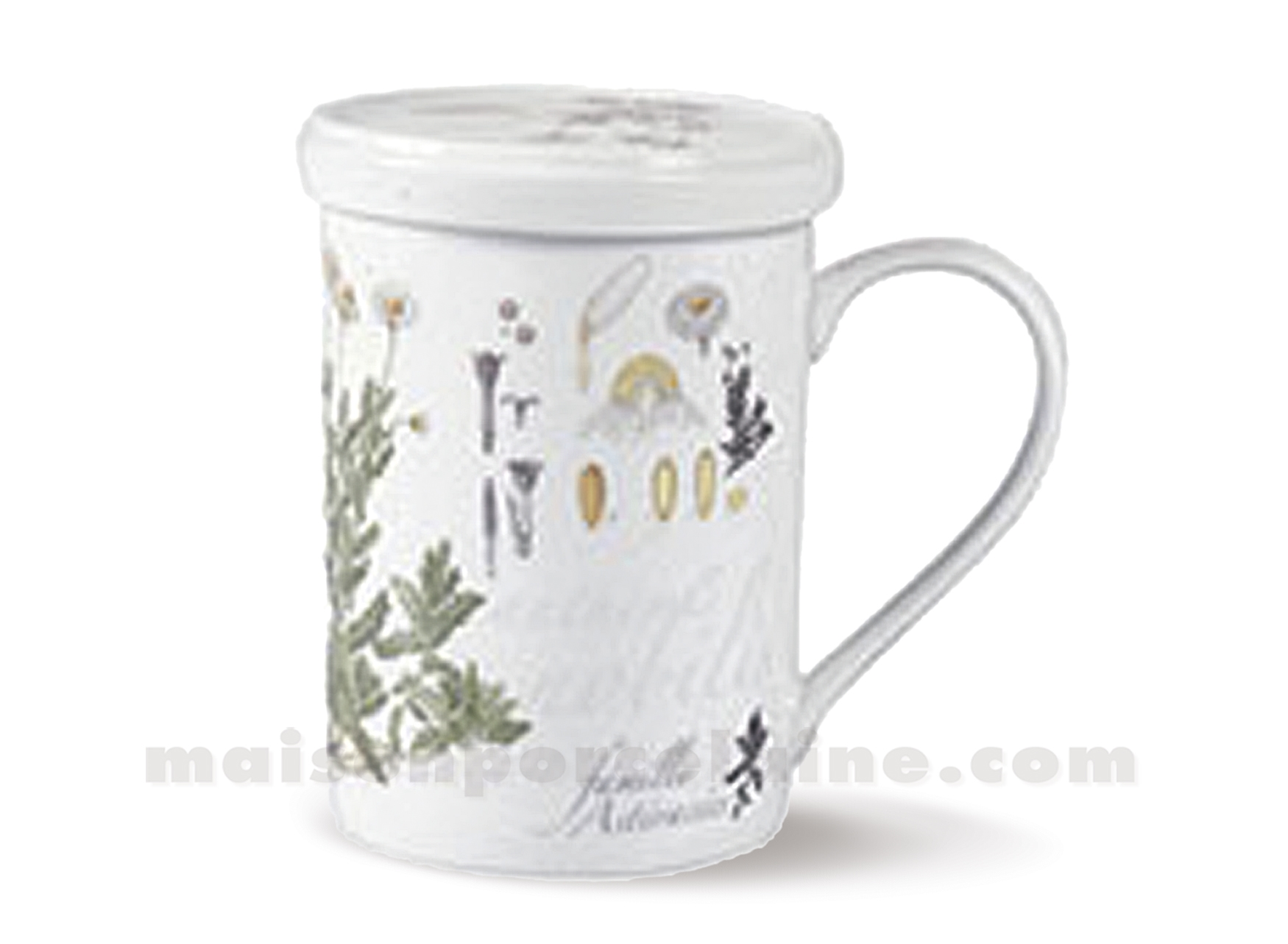 Tisaniere porcelaine filtre inox camomille maison de la for Maison de la porcelaine
