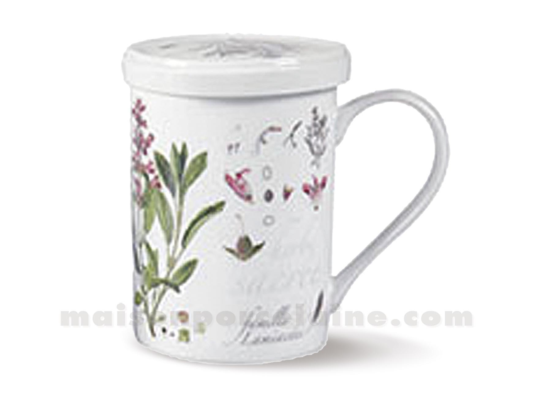 Tisaniere porcelaine filtre inox verveine maison de la porcelaine - Planter de la verveine ...