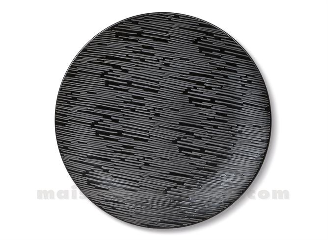 ASSIETTE GRES PLATE MEDARD DE NOBLAT MAGMA BLACK 27CM