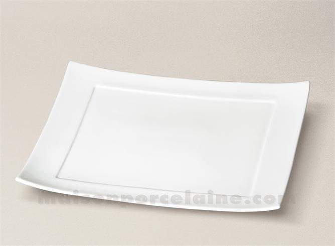 assiette rectangulaire porcelaine blanche ruban 32x22 maison de la porcelaine. Black Bedroom Furniture Sets. Home Design Ideas