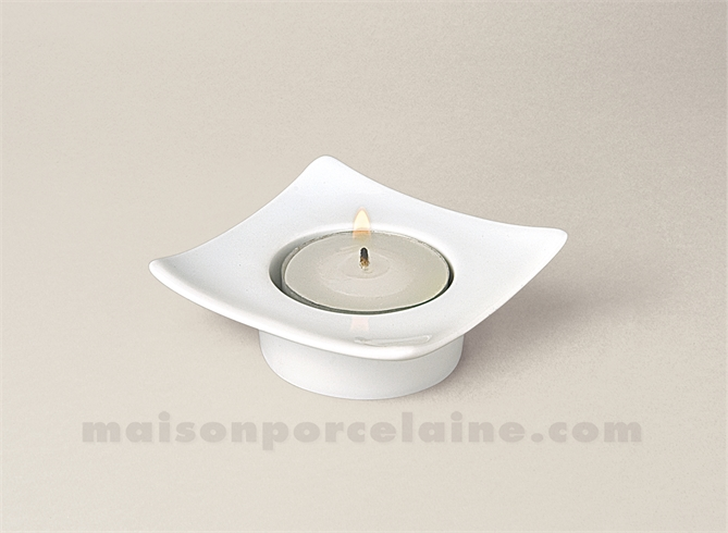BOUGEOIR CARRE PORCELAINE BLANCHE DONG 7X7