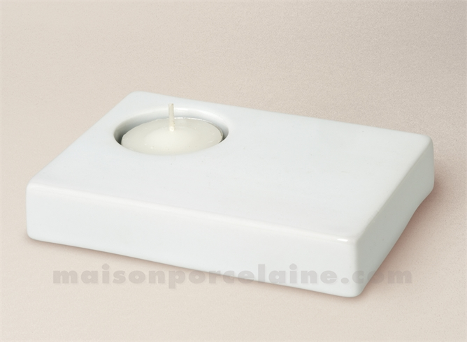 BOUGEOIR PORCELAINE BLANCHE RECTANGULAIRE UNI 12.5X9