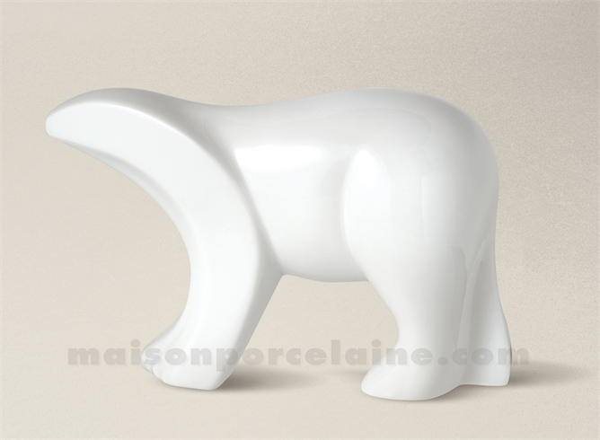 FIGURINE OURS LIMOGES PORCELAINE BLANCHE 20X7