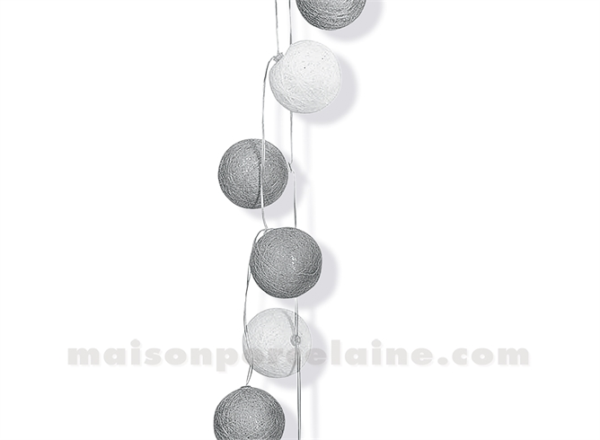 guirlande lumineuse eclairage a leds fixe ou clignotant 10 boules de tissu gris maison de la. Black Bedroom Furniture Sets. Home Design Ideas