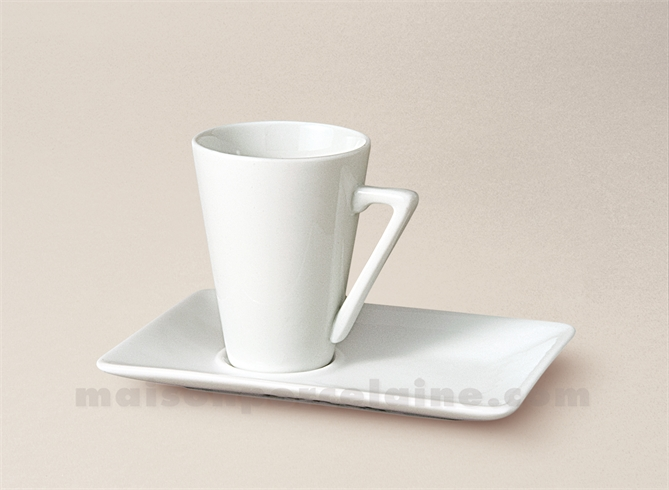 tasse cafe conique soucoupe rectangulaire porcelaine blanche 7cl maison de la porcelaine. Black Bedroom Furniture Sets. Home Design Ideas