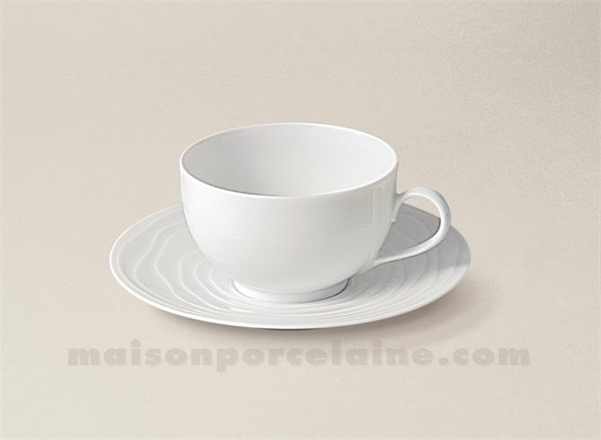 tasse cafe soucoupe limoges porcelaine blanche onde gravee 14cl maison de la porcelaine. Black Bedroom Furniture Sets. Home Design Ideas