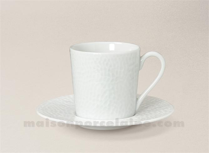 TASSE CAFE+SOUCOUPE PORCELAINE BLANCHE EMULSION 5X7 9CL