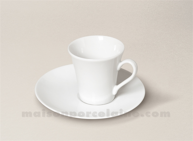 tasse cafe soucoupe porcelaine blanche kosmos 5x7 9cl maison de la porcelaine. Black Bedroom Furniture Sets. Home Design Ideas