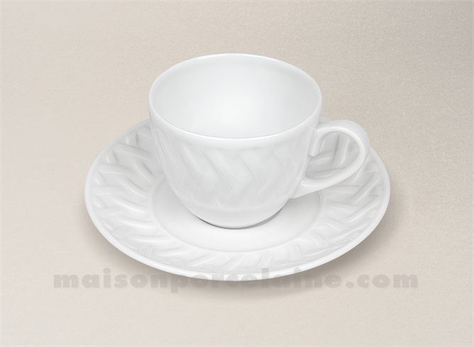 tasse cafe soucoupe porcelaine blanche louisiane 10cl maison de la porcelaine. Black Bedroom Furniture Sets. Home Design Ideas