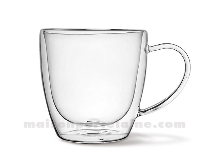 tasse verre double paroi unie 20cl maison de la porcelaine. Black Bedroom Furniture Sets. Home Design Ideas