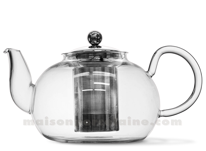 theiere verre borosilicate boule unie 1 5l maison de la porcelaine. Black Bedroom Furniture Sets. Home Design Ideas