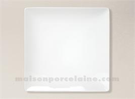ASSIETTE CARREE PLATE PORCELAINE BLANCHE COLORADO 26X26CM