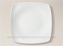 ASSIETTE CARREE PLATE PORCELAINE BLANCHE SAHARA 25X25