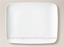 ASSIETTE RECTANGULAIRE PLATE PORCELAINE BLANCHE ATLAS 29X23