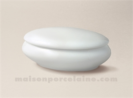 BOMBONNIERE LIMOGES PORCELAINE BLANCHE OVALE BOMBEE N°2 13X8