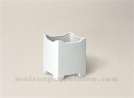 CAISSE FLEURS LIMOGES PORCELAINE BLANCHE CARREE ROYALE 11.5X11.5 1L