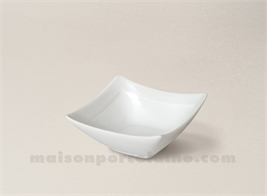 COUPELLE CARREE CREUSE PORCELAINE BLANCHE RUBAN 8X8X3.5