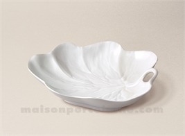 FEUILLE NENUPHAR LIMOGES PORCELAINE BLANCHE 16X13
