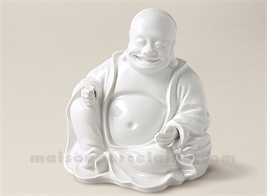 FIGURINE BOUDDHA CHANTILLY PORCELAINE BLANCHE EMAILLEE 13X15