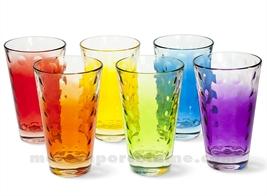 GOBELET HAUT / SODA / LONG DRINK OPTIC 13X8 30CL - SET DE 6 VERRES ASSORTIS