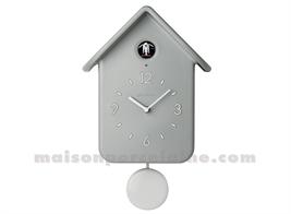 HORLOGE COUCOU A/PENDULE QQ HOME 24,8X12XH39CM GRIS