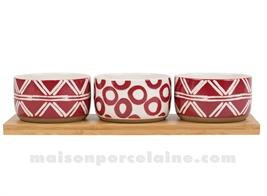 INDIRED - SET 3 COUPELLES GRES ROUGE + PLATEAU BOIS