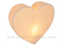 LAMPE BISCUIT - APPLIQUE COEUR H28-16X11.5CM