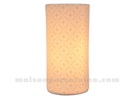 LAMPE BISCUIT - CYLINDRE ROSES PM H20X10CM