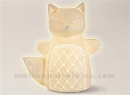 LAMPE BISCUIT - LAMPE RENARD BLANC 19X12XH21CM