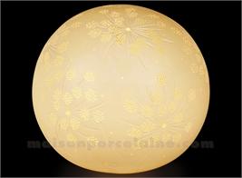 LAMPE BISCUIT PORCELAINE - BOULE FLEUR D20.5H18