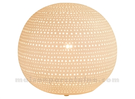 LAMPE BISCUIT PORCELAINE - BOULE  POINTS D20.5H18