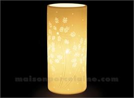 LAMPE BISCUIT PORCELAINE - CYLINDRIQUE - FLEUR BLANC D11