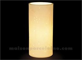 LAMPE BISCUIT PORCELAINE - CYLINDRIQUE - SILLON BLC D11H24