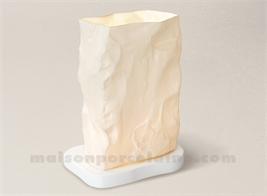 LAMPE BISCUIT PORCELAINE DE LIMOGES PIERRE H20-13X10CM+SOCLE H 2CM