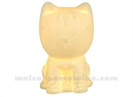 LAMPE BISCUIT PORCELAINE - LED MINI  - CHATON BLC 9X13XH14