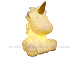 LAMPE BISCUIT PORCELAINE - LED MINI  - LICORNE 9X8X12