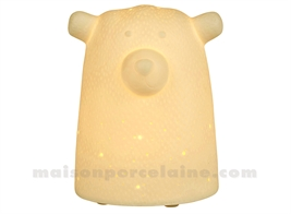 LAMPE BISCUIT PORCELAINE - LED MINI  - OURS BLANC 10.5X9XH12