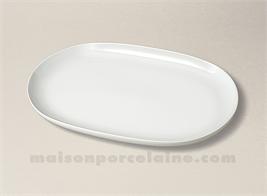 PLAT OVALE PORCELAINE BLANCHE COUPE FLANDRE 33X21