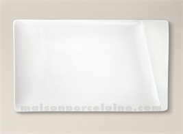 PLAT/ASSIETTE RECTANGULAIRE PORCELAINE BLANCHE KHEOPS 23X14CM