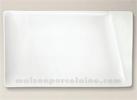 PLAT/ASSIETTE RECTANGULAIRE PORCELAINE BLANCHE KHEOPS 35X21CM