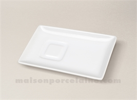 PLATEAU RECTANGLE QUADRA PORCELAINE BLANCHE 14.5X9.5 POUR TASSE CAFE 45350