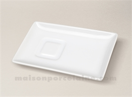PLATEAU RECTANGLE QUADRA PORCELAINE BLANCHE 16X9.8 POUR TASSE CAPUCCINO 45316