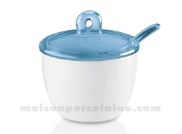 PORCELAIN SUGAR BOWL WITH ACRYLIC COVER AND SPOON 20CL