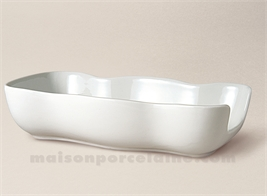 RAMASSE COUVERTS PORCELAINE BLANCHE LIMOGES LOBES 25X13